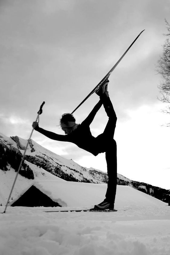 skiier in dancer pose